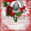 """Happy Birthday"" digi scrap birthstone layout featuring Ruby Collection by AFT Designs - Amanda Fraijo-Tobin"