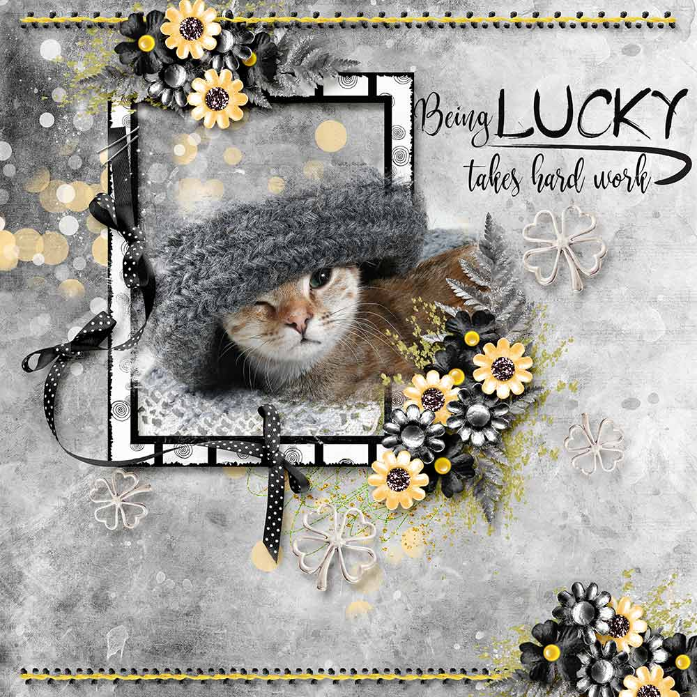 Digital scrapbooking Page using Lucky Me Kit by Snickerdoodle designs