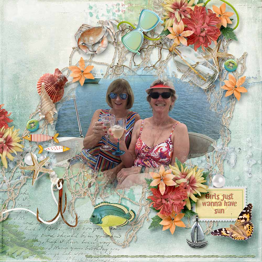 Layout using Beach Day Kit by Snickerdoodle Designs