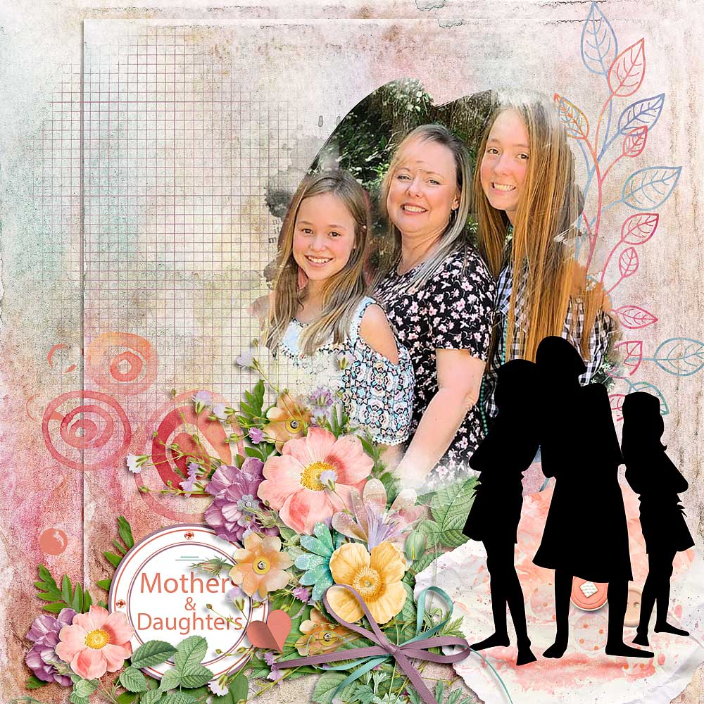 Layout created using Mothers and Daughters Digital Scrapbook Kit by Snickerdoodle Designs