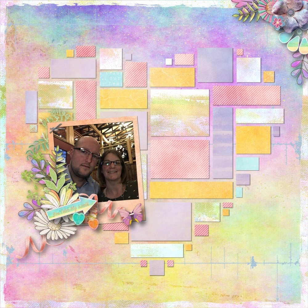 You Color My World Layout; Kit by Snickerdoodle Designs