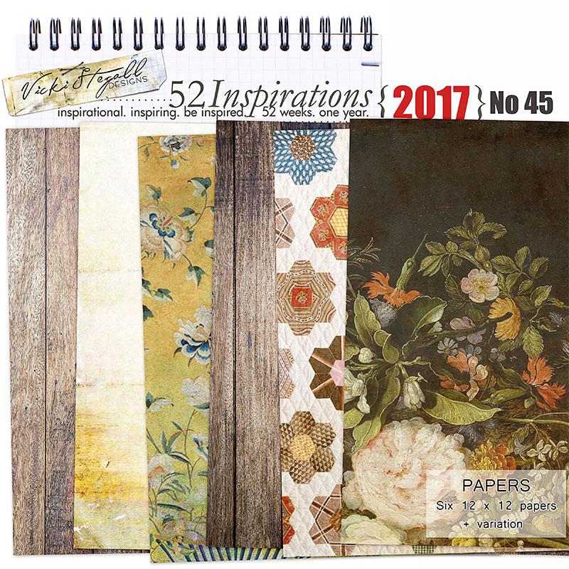 digital scrapbooking papers, quilt, vintage flowers, wood