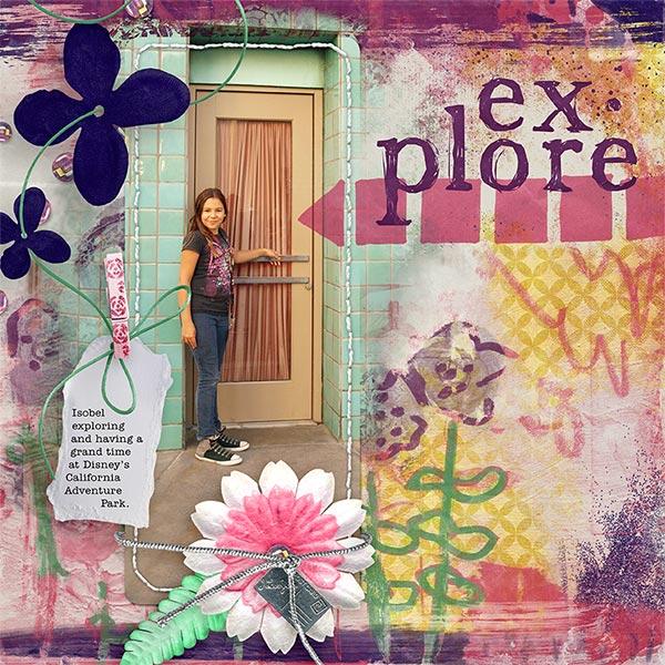 'Explore' digital scrapbooking art journaling layout idea by Amanda Fraijo-Tobin - AFT Designs #scrapbook #artjournal