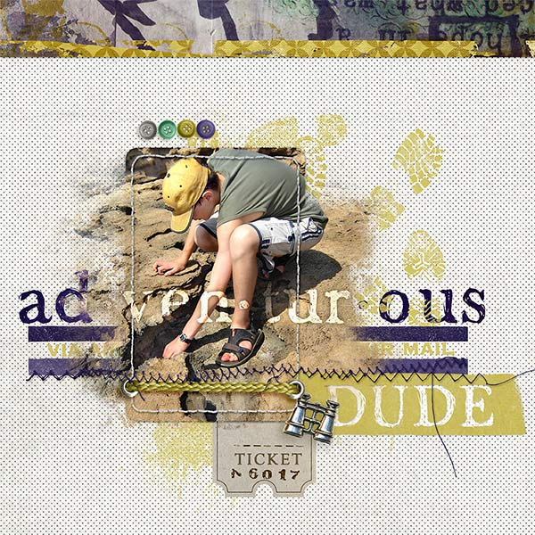 """Adventurous Dude"" digital scrapbooking layout idea by Amanda Fraijo-Tobin - AFT Designs using Adventruous His Mini Kit"
