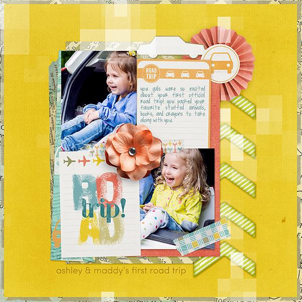 Road Trip #digitalscrapbooking travel kids layout idea by AFT Designs - Amanda Fraijo-Tobin #oscraps #scrapbook