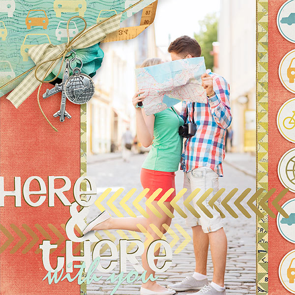 Here and There #digitalscrapbooking love travel layout idea by AFT Designs - Amanda Fraijo-Tobin #oscraps #scrapbook