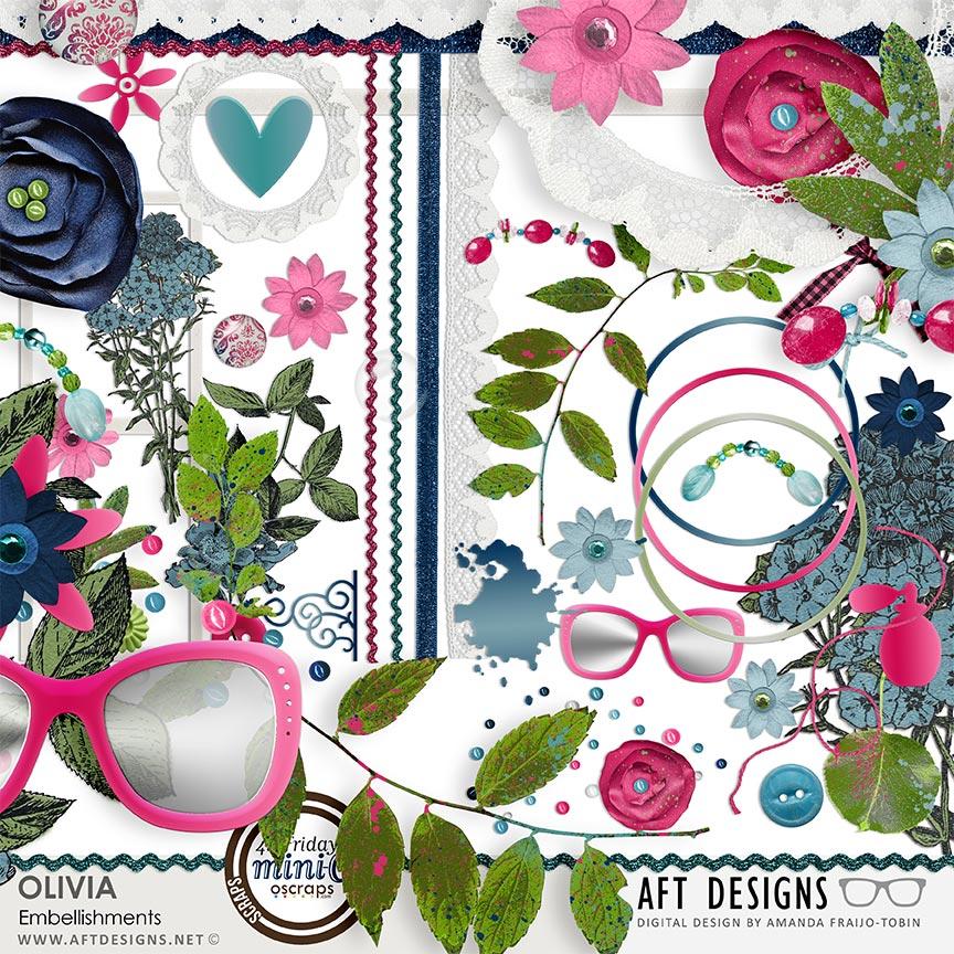 Olivia digital scrapbooking embellishments by AFT designs @Oscraps.com #digitalscrapbook #tween #teen #scrapbook
