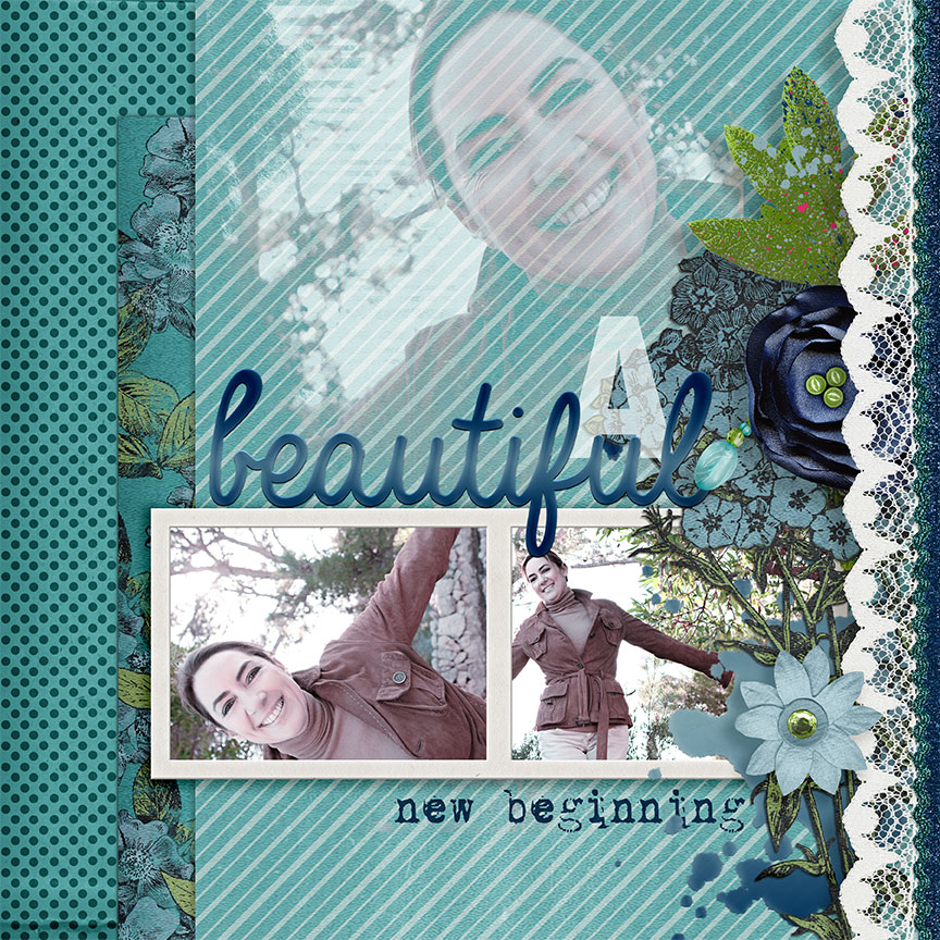 """A Beautiful New Beginning"" digital scrapbooking feminine blue layout idea by AFT designs using ""Olivia Collection"" #scrapbook #memories #layoutidea #photoshop #PSE #digiscrap"