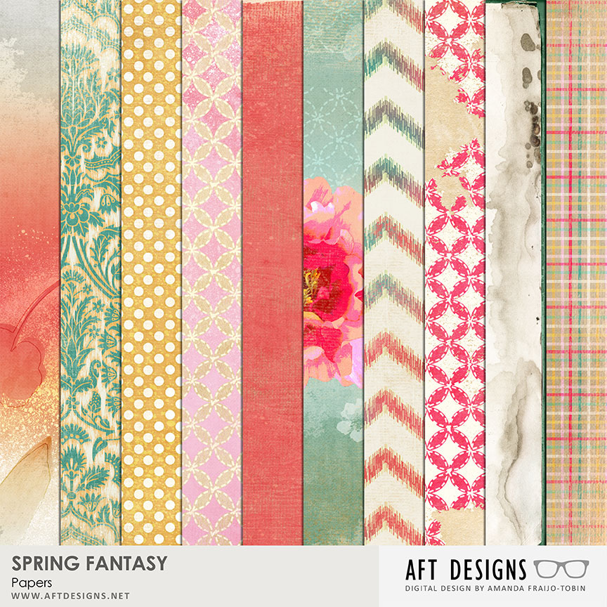 spring fantasy digital printable scrapbooking papers by aft designs