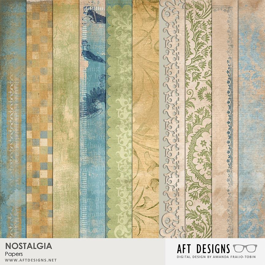 Nostalgia #digitalscrapbooking Papers by AFT Designs - Amanda Fraijo-Tobin @Oscraps.com