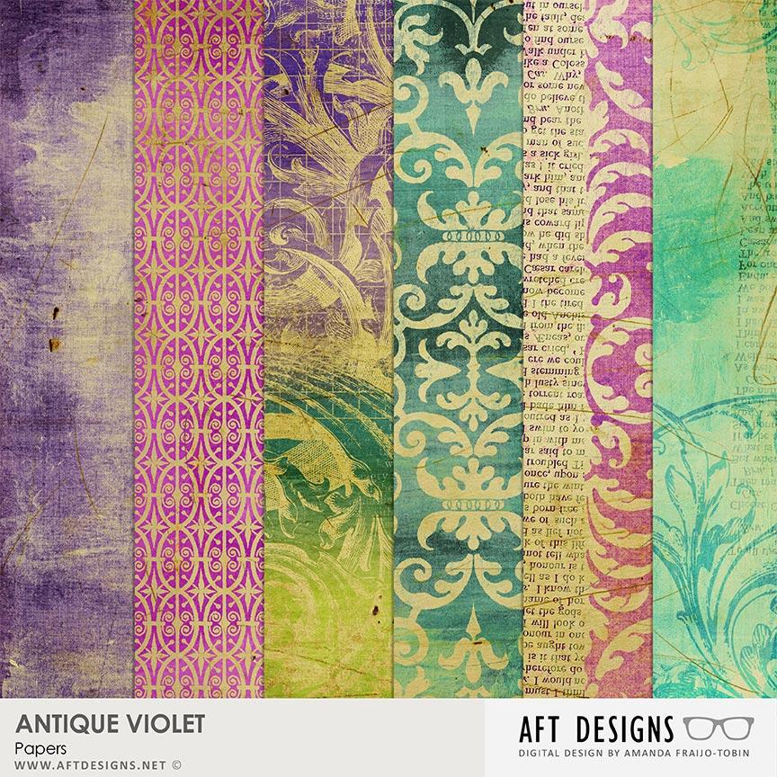 Antique Violet #digitalscrapbooking Papers by AFT Designs - Amanda Fraijo-Tobin @Oscraps.com