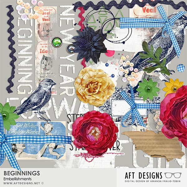 Beginnings Digital Scrapbooking Art Journaling Embellishments by AFT Designs - Amanda Fraijo-Tobin