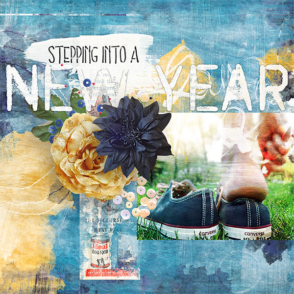 New Year #digitalscrapbooking layout by AFT Designs - Amanda Fraijo-Tobin using Beginnings Digi Scrapbook Kit | www.aftdesigns.net