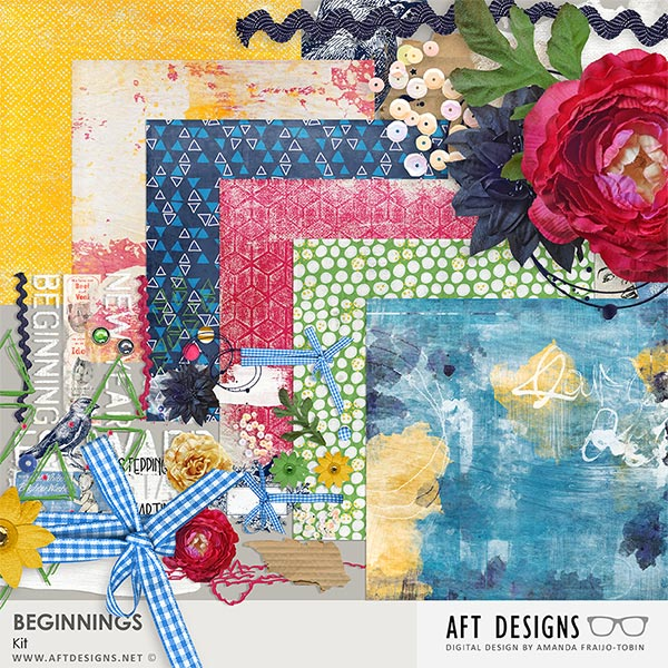 Beginnings Digital Scrapbooking Kit by AFT Designs - Amanda Fraijo-Tobin @Oscraps.com | #newyear #artjournaling #printables