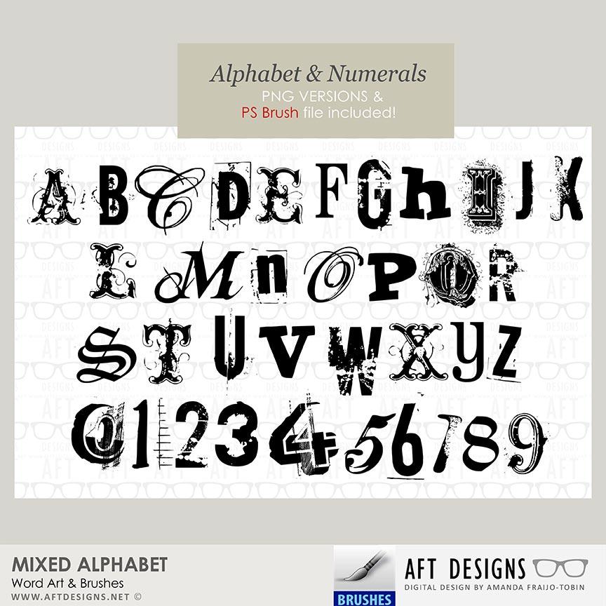 Brush Set: Mixed Alphabet by AFT Designs - Amanda Fraijo-Tobin @oscraps.com