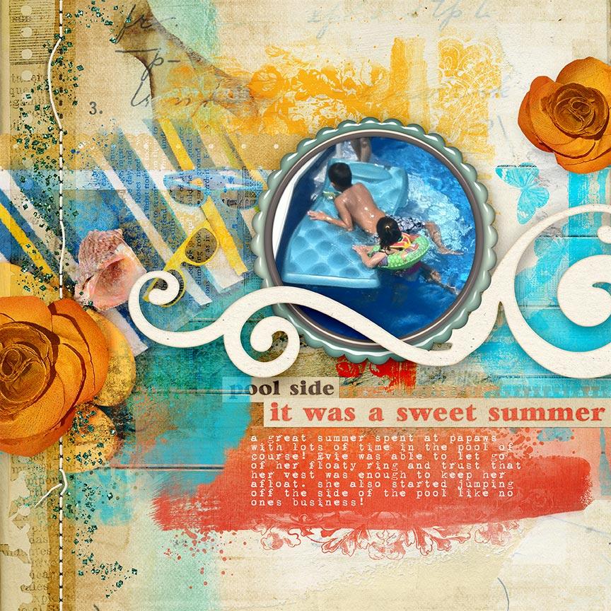 "Digital Scrapbooking Layout ""Poolside"" by Amanda Fraijo-Tobin - AFT Designs"