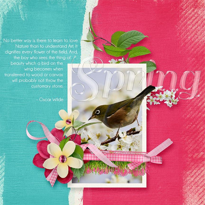 """Spring"" #digitalscrapbooking layout by Amanda Fraijo-Tobin - AFT designs using Budding Cluster Embellishments #scrapgirls #digitalscrapbook"