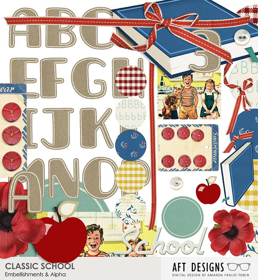 Classic School #digitalscrapbooking Embellishments & Alpha by AFT Designs - Amanda Fraijo-Tobin @OScraps.com