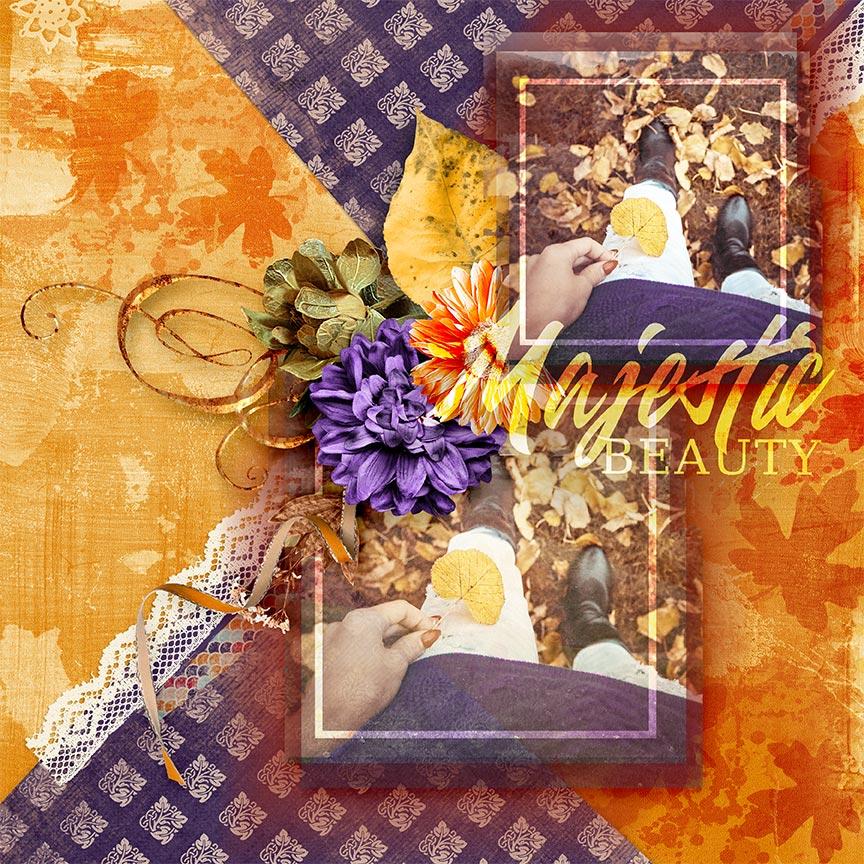 """Majestic Beauty"" Hello Fall #scrapbook layout by AFT Designs - Amanda Fraijo-Tobin using Crisp Air Mini Kit & Coordinating Products @Oscraps.com"
