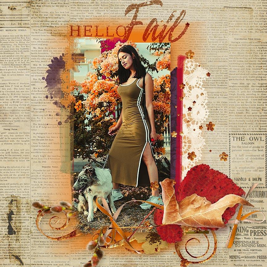 Hello Fall #scrapbook layout by AFT Designs - Amanda Fraijo-Tobin using Crisp Air Mini Kit & Coordinating Products @Oscraps.com