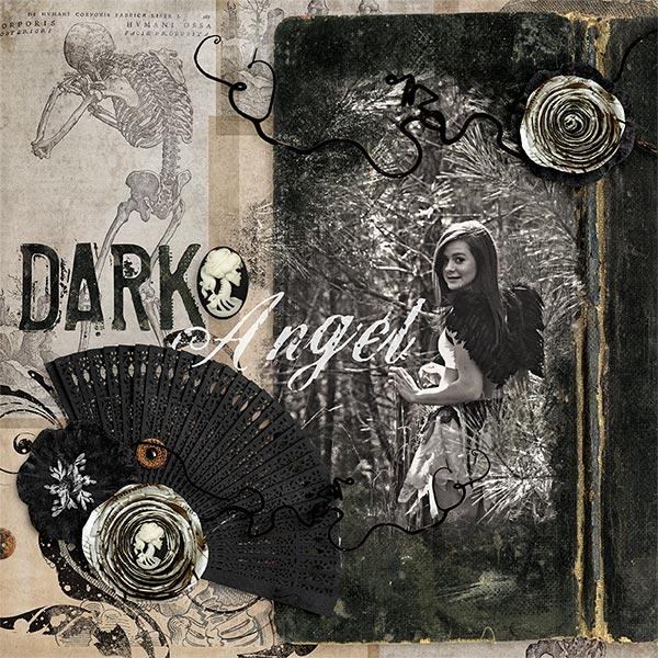"""Dark Angel""  #digiscrapbooking layout by Amanda Fraijo-Tobin using Day of the Dead Halloween kit | aftdesigns.net #oscraps #dayofthedead"