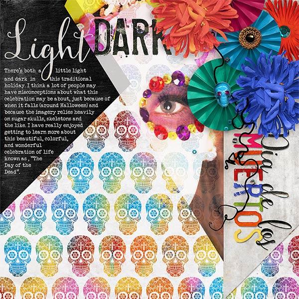 """Light & Dark""  #digiscrapbooking layout by Amanda Fraijo-Tobin using Day of the Dead Halloween kit | aftdesigns.net #oscraps #dayofthedead"
