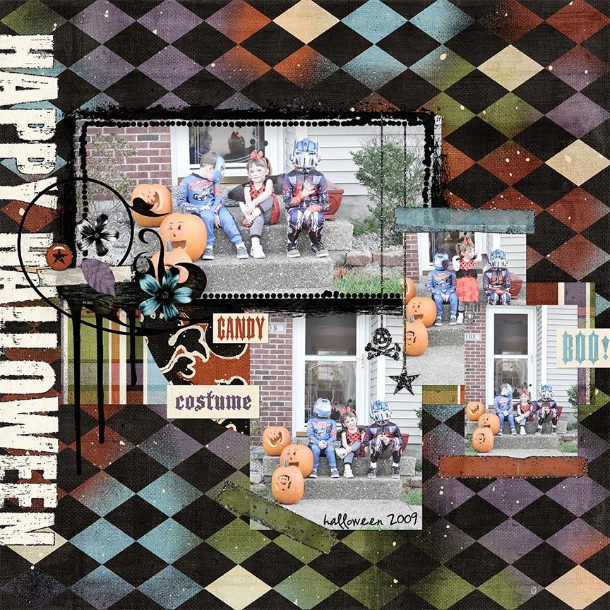 #digitalscrapbooking Halloween layout by AFT Designs - Amanda Fraijo-Tobin