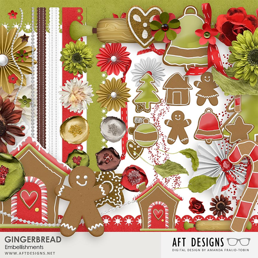Gingerbread #digitalscrapbooking Embellishments by AFT Designs - Amanda Fraijo-Tobin