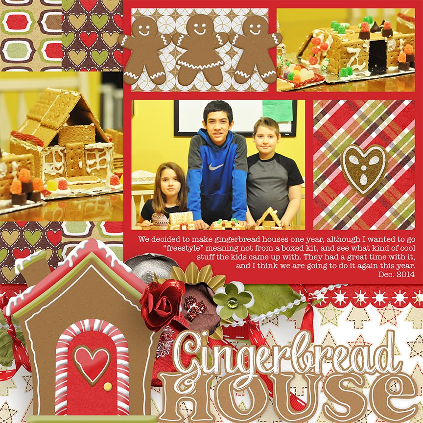 Gingerbread House #digitalscrapbooking layout by Amanda Fraijo-Tobin | AFTDesigns