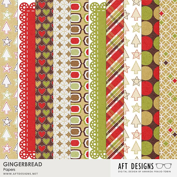 Gingerbread #digitalscrapbooking Papers by AFT Designs - Amanda Fraijo-Tobin