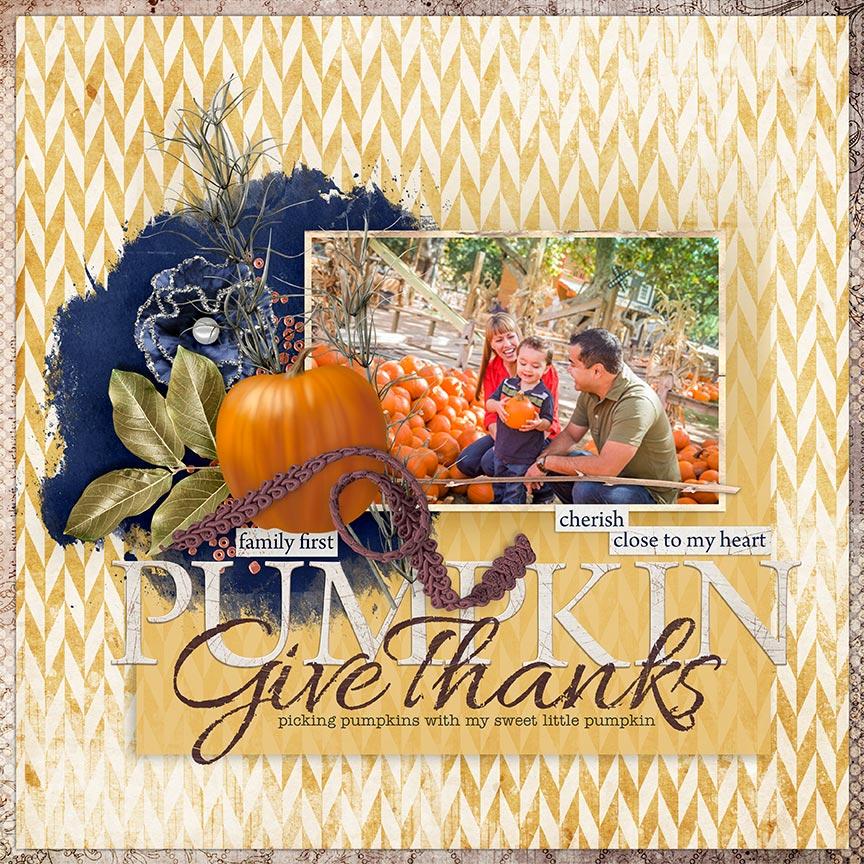 """Give Thanks"" #scrapbook layout by AFT Designs - Amanda Fraijo-Tobin"