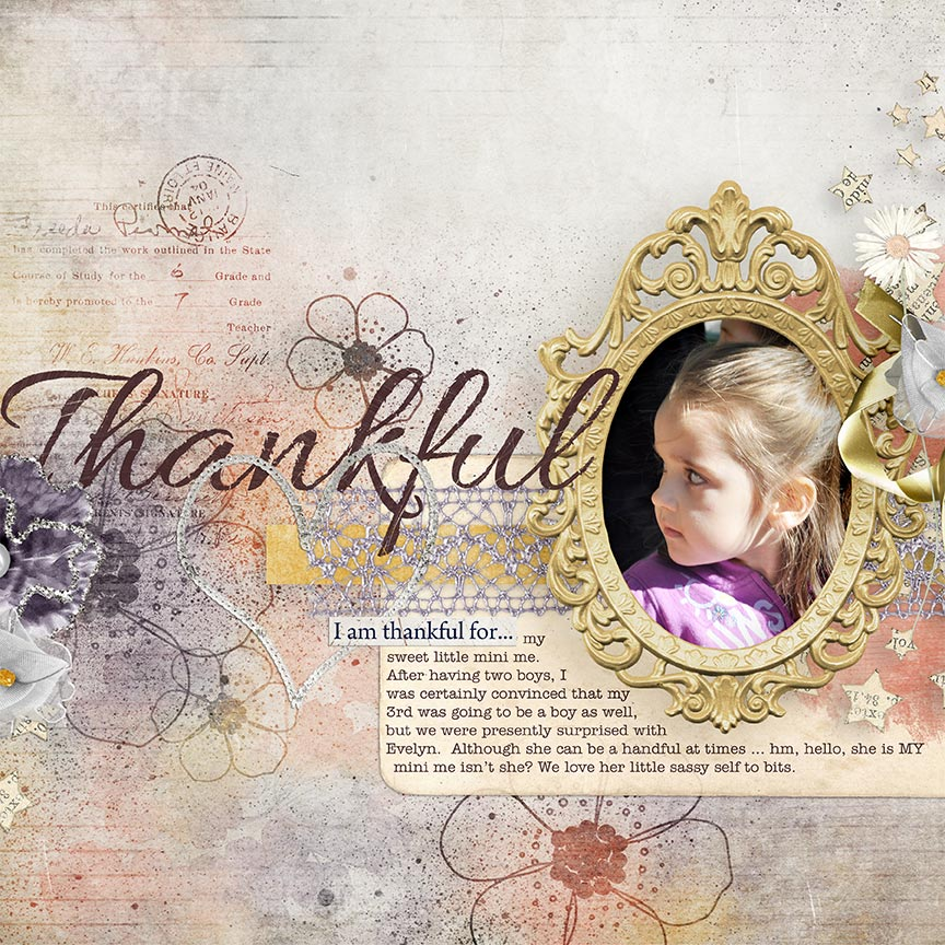 'Thankful' #digitalscrapbooking layout by AFT Designs - Amanda Fraijo-Tobin
