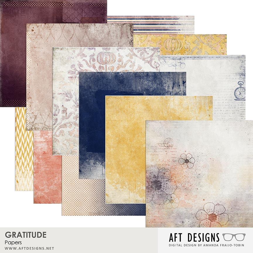 Gratitude Digital Scrapbooking Papers by AFT Designs - Amanda Fraijo-Tobin