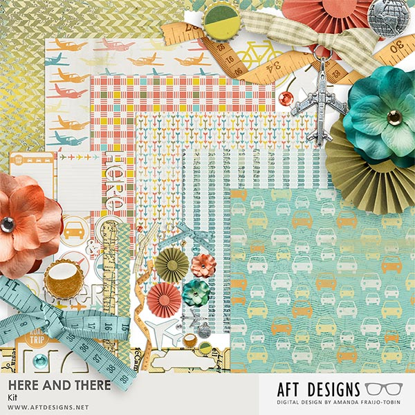 Here and There Digital Scrapbooking kit by AFT Designs @Oscraps.com - #oscraps #printables #digitalscrapbooking