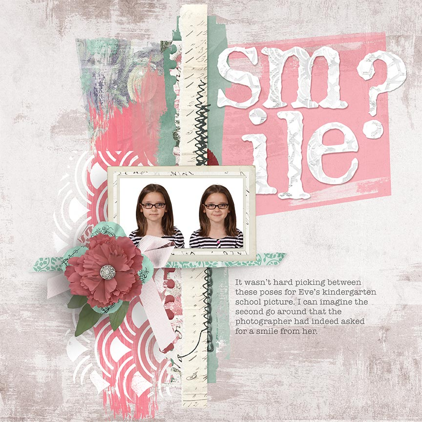 'Smile?' #scrapbook layout by Amanda Fraijo-Tobin - AFT Designs #scrapbookng #digtalscrapbook