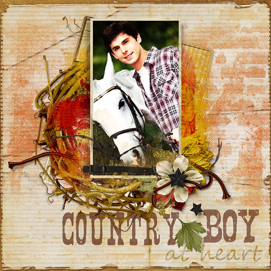 """Country Boy"" #digitalscrapbooking layout by AFT Designs - Amanda Fraijo-Tobin"