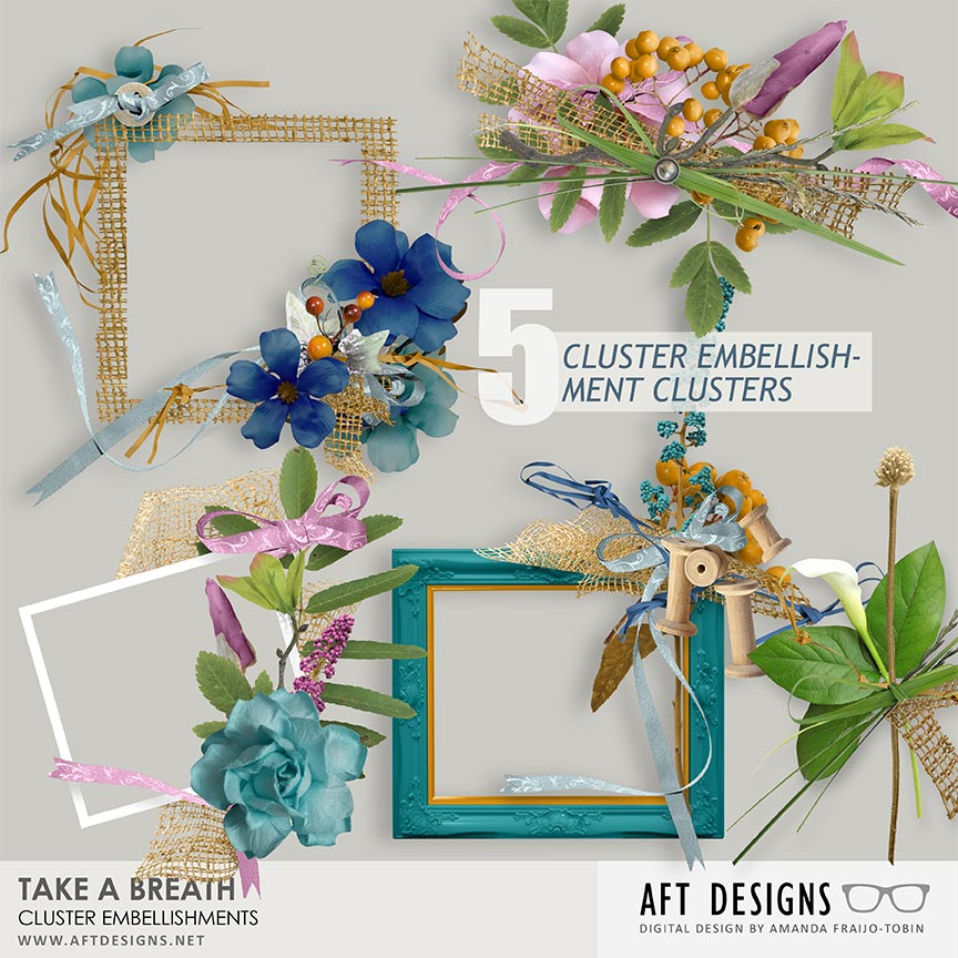 Take A Breath Cluster Embellishments by AFT Designs - Amanda Fraijo-Tobin @Oscraps.com