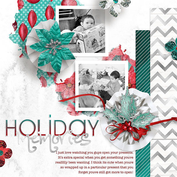 """Holiday Memories"" Digital scrapbooking layout by AFT Designs - Amanda Fraijo-Tobin using Turquoise Holiday Kit"