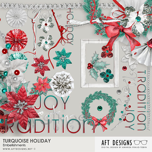 Turquoise Holiday Collection Mini by AFT Designs - Amanda Fraijo-Tobin @Osraps.com | #aftdesigns #scrapbooking #scrapbook