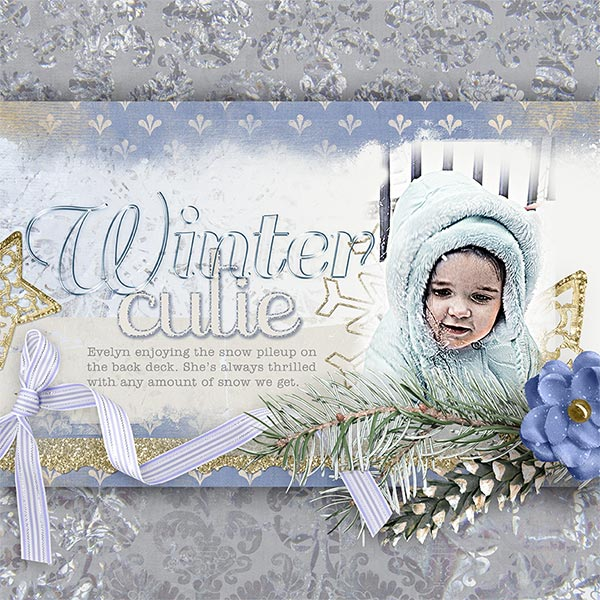 Winter Cutie #digiscrapbook layout idea by Amanda Fraijo-Tobin - AFT Designs using Winter Fantasy Kit