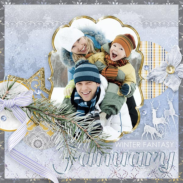 January idea by Amanda Fraijo-Tobin - AFT Designs using Winter Fantasy Kit