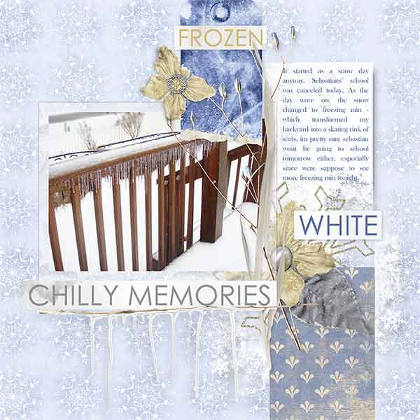 """Chilly Memories"" #digitalscrapbooking layout idea by AFT Designs - Amanda Fraijo-Tobin #oscraps #memorykeeping #winter #projectlife"