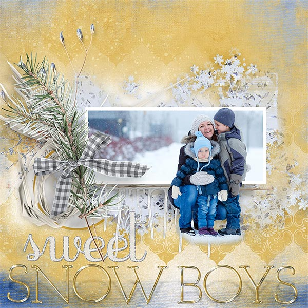 """Sweet Snow Boys"" #digitalscrapbooking layout idea by AFT Designs - Amanda Fraijo-Tobin #oscraps #memorykeeping #winter #projectlife"