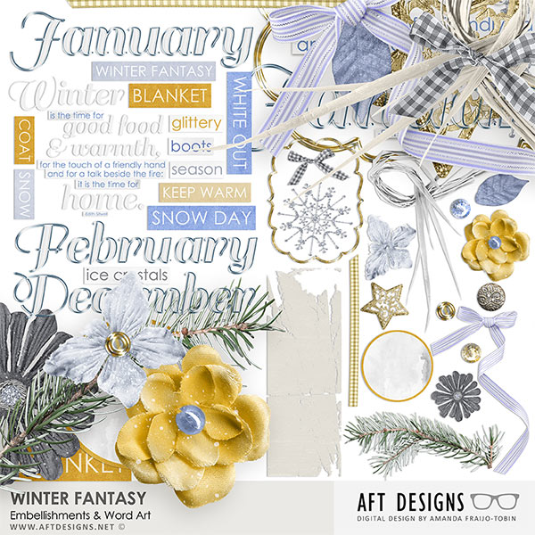 Winter Fantasy Digital Scrapbooking Embellishments and Word Art by AFT Designs