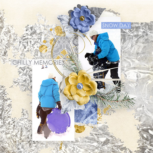 """Snow Day"" #digitalscrapbooking layout idea by AFT Designs - Amanda Fraijo-Tobin #oscraps #scrapbook #winter"