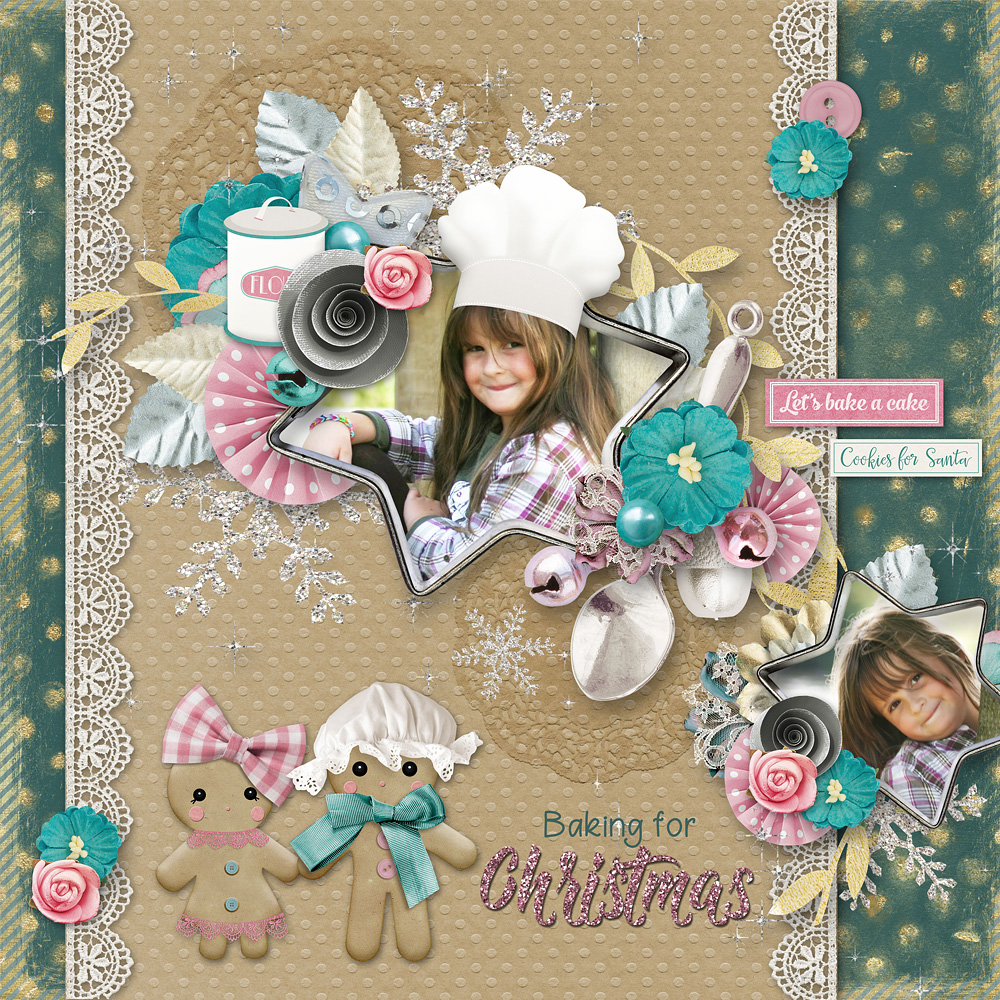 Baking For Christmas Digital Scrapbook Layout by Anja
