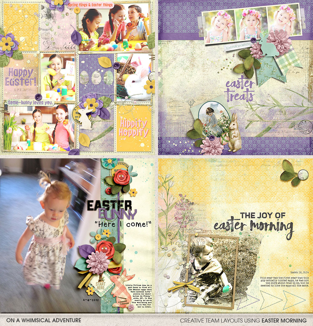 Digital layouts using Easter Morning Mega Bundle by On A Whimsical Adventure