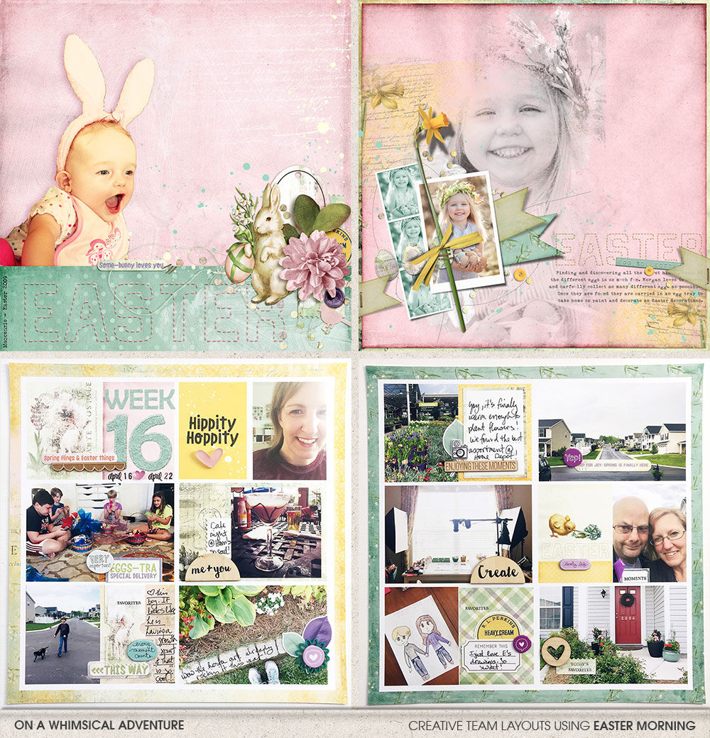 Digital and hybrid layouts using Easter Morning Mega Bundle by On A Whimsical Adventure
