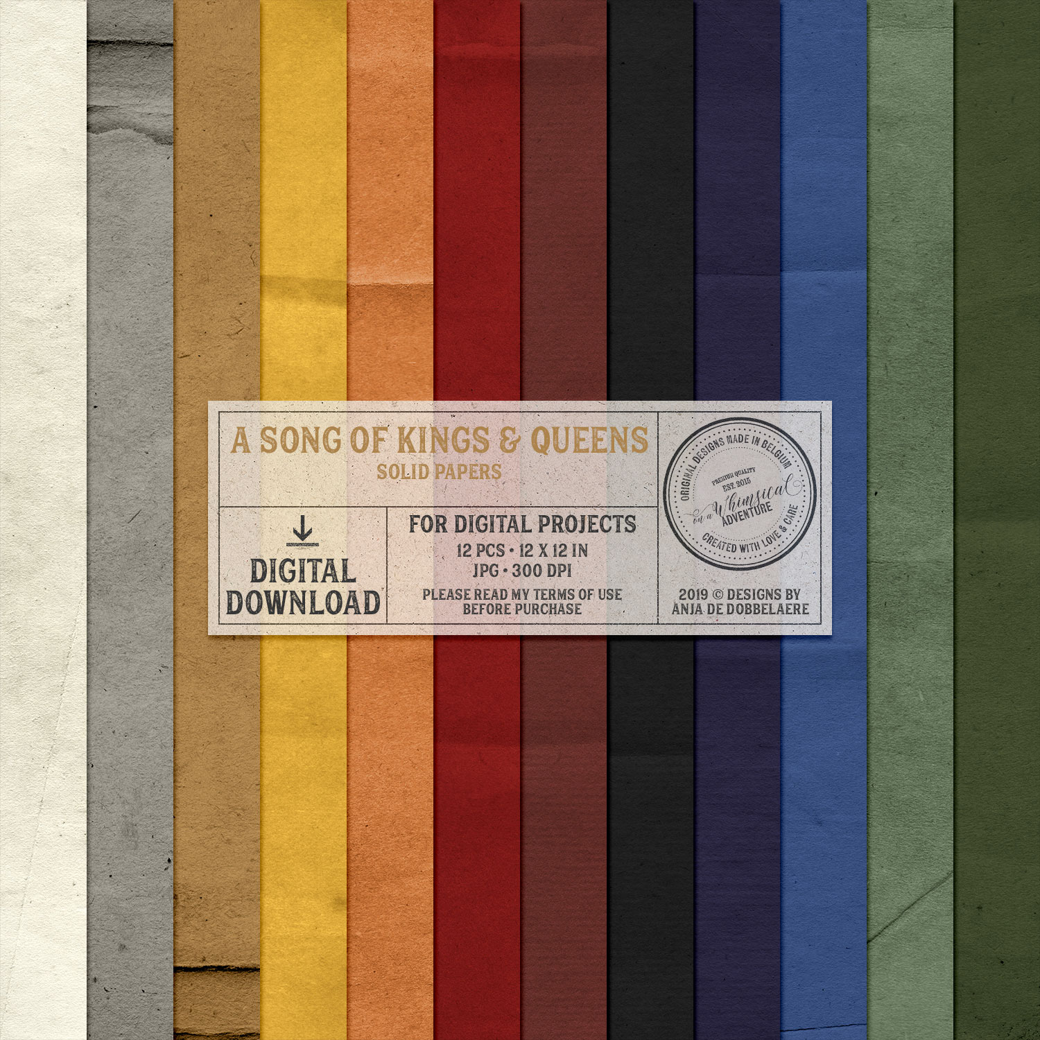 A Song Of Kings And Queens Solid Papers by On A Whimsical Adventure