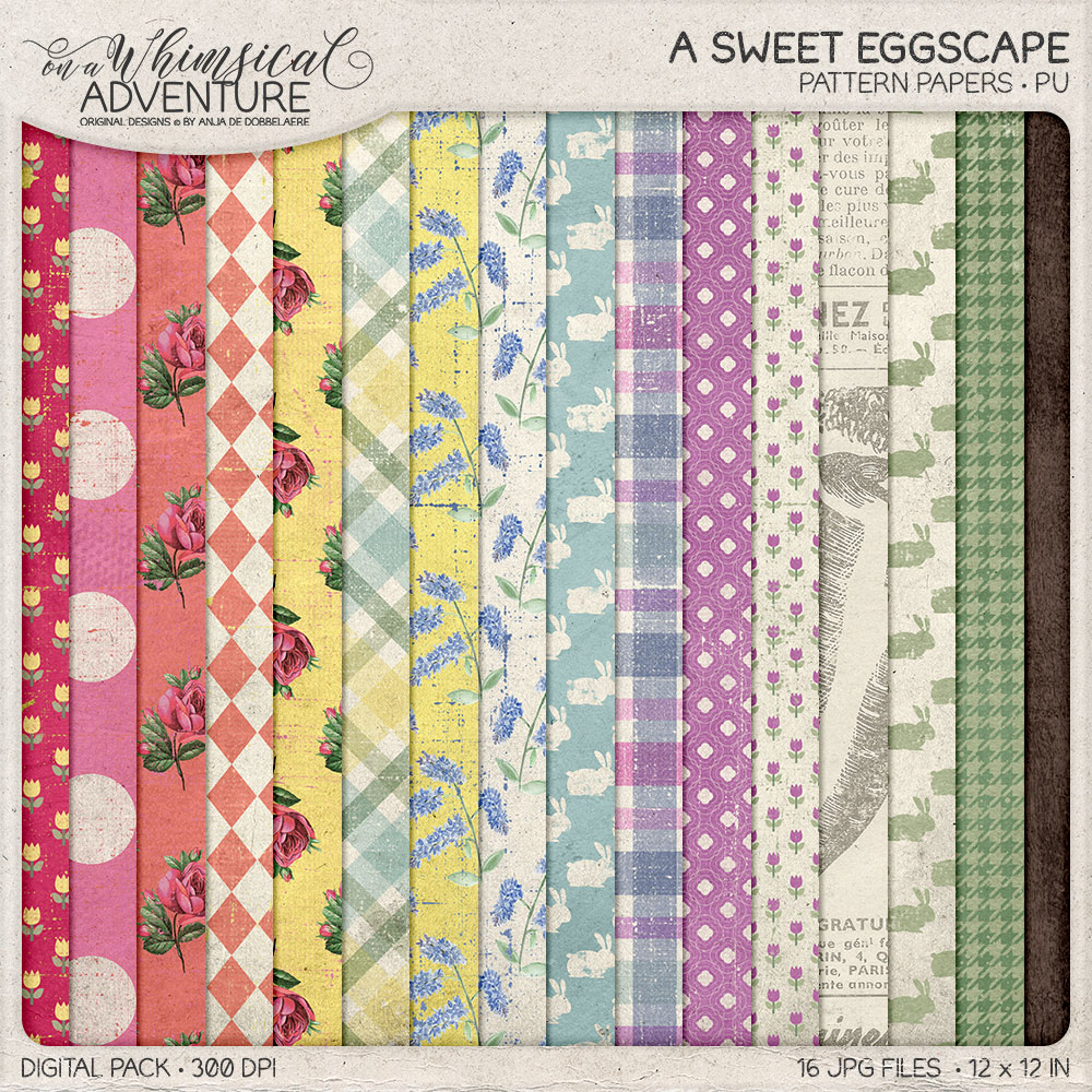 A Sweet Eggscape Pattern Papers by On A Whimsical Adventure